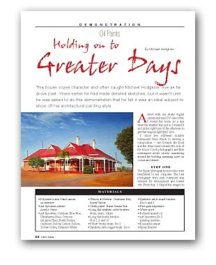 Artists Palette Magazine 33 - Michael Hodgkins, Demonstration - Holding On To Greater Days