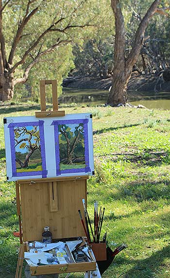 Plein Air Oil Studies 9x5 at Darling River NSW