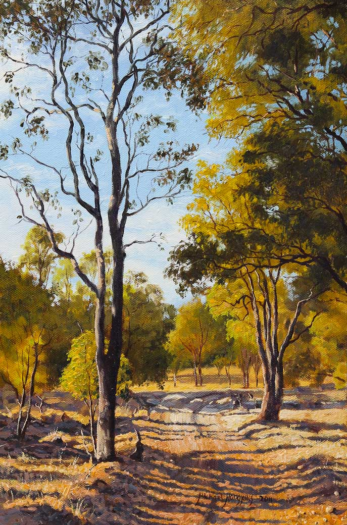 """The Track Home"" Original Oil Painting ... - The Track Home Australian Landscape Painting For Sale Michael Hodgkins"