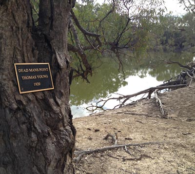 Plaque near the grave site of Thomas Young at Dead Mans Point, Viewmont Station, near Menindee on the Darling River, NSW.