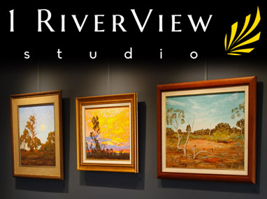 1RiverView Studio wall with logo