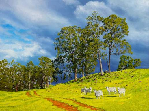 Betsy and the Girls at Hidden Valley Australian Landscape Oil Painting by Michael Hodgkins