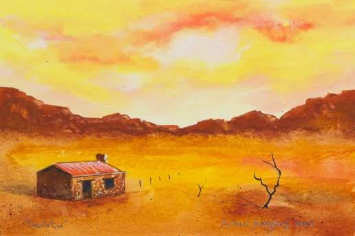 Desolation 1 - Australian Landscape Gouache Painting by Michael Hodgkins