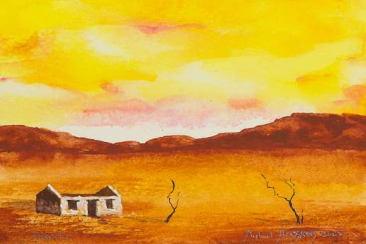 Desolation 2 - Australian Landscape Gouache Painting by Michael Hodgkins