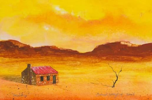 Desolation 3 - Australian Landscape Gouache Painting by Michael Hodgkins_