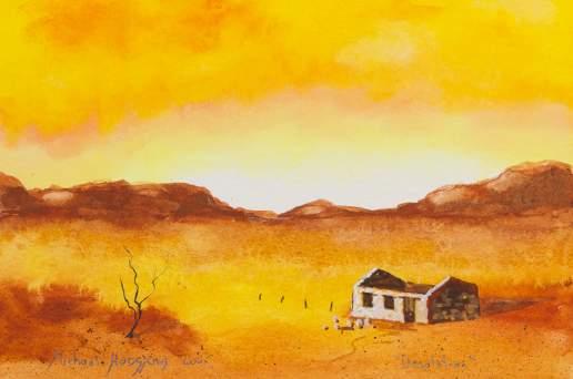 Desolation 4 - Australian Landscape Gouache Painting by Michael Hodgkins