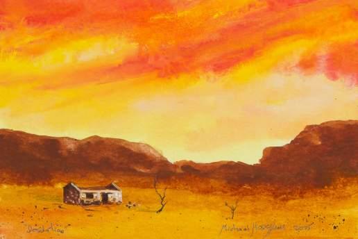Desolation 5 - Australian Landscape Gouache Painting by Michael Hodgkins