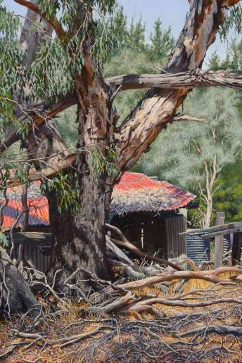 Falling Down - The Piggery on Winnejup Road - Australian Landscape Oil Painting by Michael Hodgkins