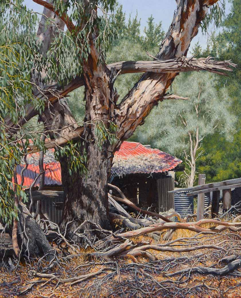 Falling Down - The Piggery on Winnejup Road - Australian Landscape Oil Painting by Michael Hodgkins