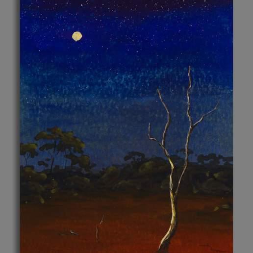 Moonlight Mulga 1 - Australian Landscape Gouache Painting by Michael Hodgkins