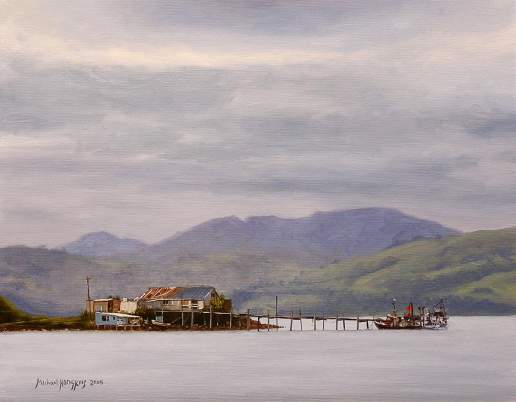 Wellers Rock Jetty - New Zealand Landscape Oil Painting by Michael Hodgkins--
