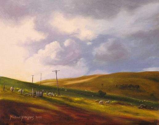 Windswept Fields - New Zealand Landscape Oil Painting by Michael Hodgkins
