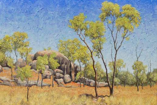 Along The Herveys Range Road - Australian Landscape Oil Painting by Michael Hodgkins