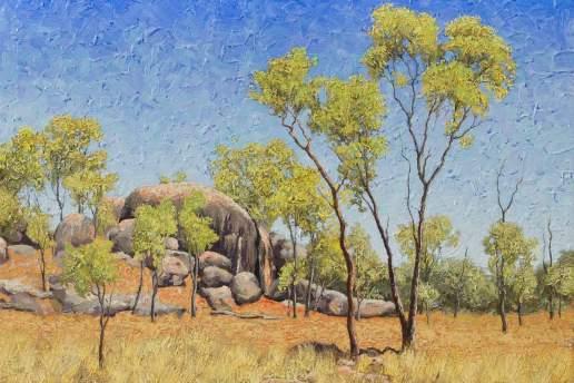 Along The Herveys Range Road - Australian Landscape Oil Painting by Michael Hodgkins