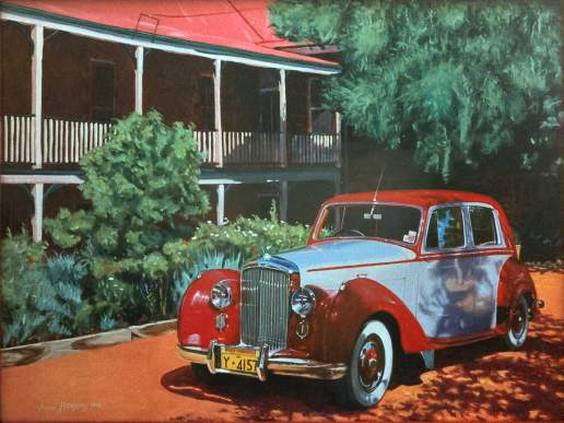 Bentley at Faversham House - Australian Automotive Oil Painting by Michael Hodgkins