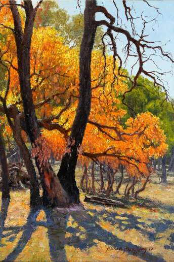 Blazing Orange Leaves - Australian Landscape Oil Painting by Michael Hodgkins