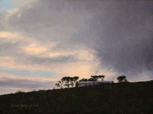 Darkening Sky - New Zealand landscape oil painting by Australian artist, Michael Hodgkins