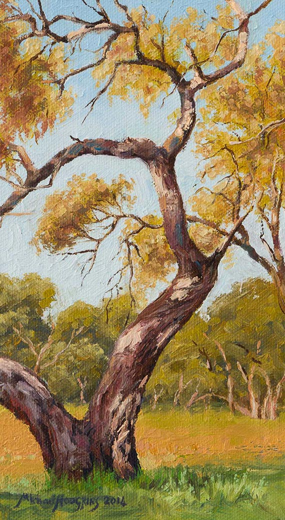 "Body Shop Near Me >> ""Darling River Tree Study 2"" Original 9 x 5 Oil Painting – Framed 