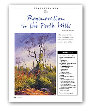 Artists Palette Magazine 144 - Michael Hodgkins, Demonstration - Regeneration in the Perth Hills