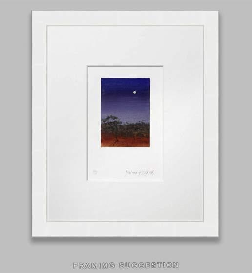 Moonlight Mulga 7 - Australian Landscape Gouache Painting by Michael Hodgkins