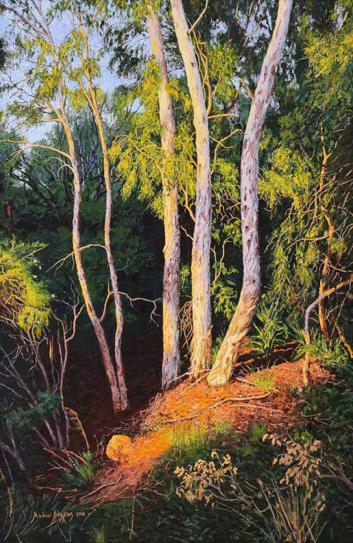 My Sanctuary Where The Warm Trees Glow - Australian Landscape Oil Painting by Michael Hodgkins