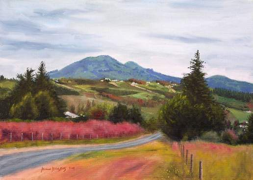 Near Dunedin - New Zealand Landscape Oil Painting by Michael Hodgkins