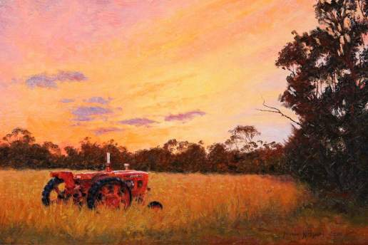 Red Tractor - Australian Landscape Oil Painting by Michael Hodgkins