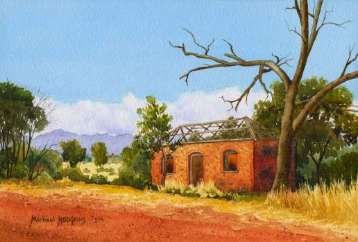 Roofless Cottage - Australian Landscape Watercolour Painting by Michael Hodgkins