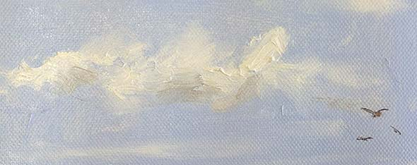 Sky Study with Birds in Oil Paint