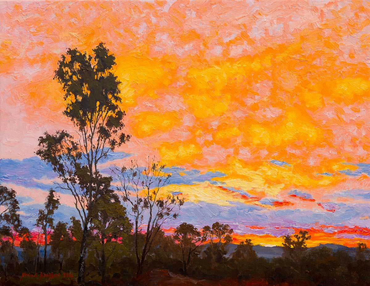 Sunset South of Charters Towers - Australian Landscape Oil Painting by Michael Hodgkins