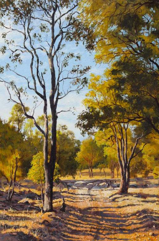 The Track Home - Australian Landscape Oil Painting by Michael Hodgkins
