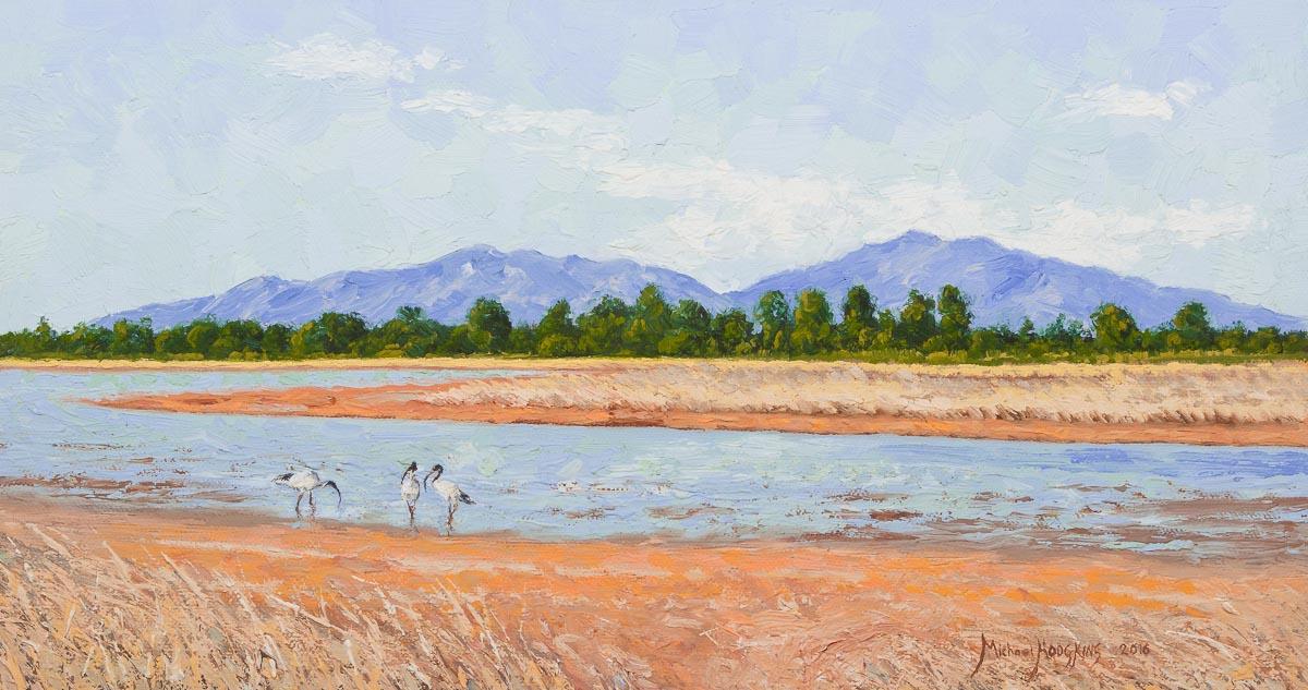 View of Cape Cleveland - Australian Landscape Oil Painting by Michael Hodgkins