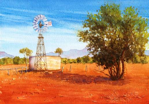Windmill - Australian Landscape Watercolour Painting by Michael Hodgkins
