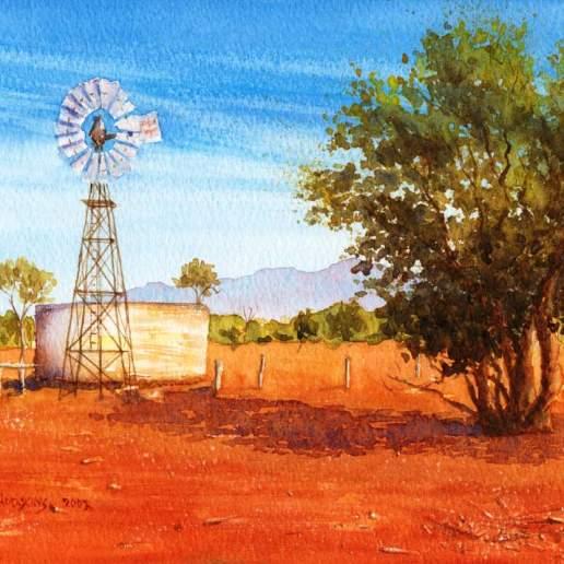 Windmill - Australian Landscape Watercolour Painting by Michael Hodgkins